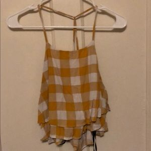 white and yellow checkered crop tank